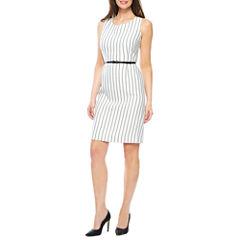 Black Label by Evan-Picone Sleeveless Stripe Sheath Dress