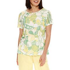 Alfred Dunner Bahama Bays Short Sleeve Lace Yoke T-Shirt