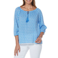 Rafaella 3/4 Sleeve Cap Sleeve Peasant Top