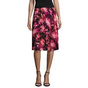 Worthington Floral Woven Pleated Skirt