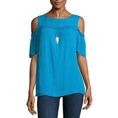 Alyx Short Sleeve Round Neck Crepe Blouse