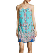 by&by Spaghetti Strap Printed A Line Dress with Hardware Neckline