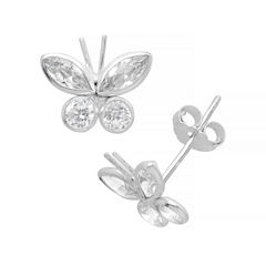 Itsy Bitsy Marquise Clear Sterling Silver Stud Earrings