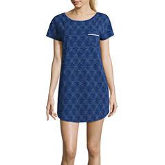 Liz Claiborne Jersey Short Sleeve Stripe Nightshirt