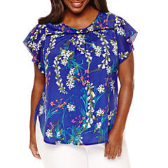 Worthington® Flutter Sleeve Blouse - Plus