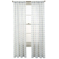 MarthaWindow™ Windowpane Rod-Pocket Sheer Panel