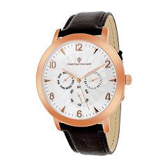 Christian Van Sant Mens Harper Brown Leather Strap Watch