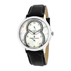 Christian Van Sant Infinie Womens Mother-of-Pearl Black Leather Strap Watch
