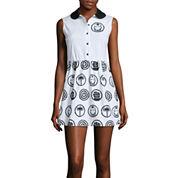 Mighty Fine Sleeveless Button-Front Poplin Dress