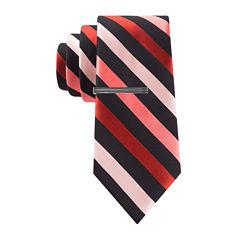 JF J. Ferrar® Patterson Striped Tie and Tie Bar Set - Slim