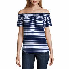 Liz Claiborne Sleeveless Y Neck T-Shirt-Talls