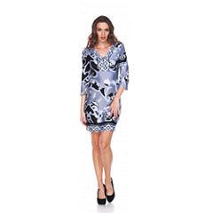 White Mark Miranda 3/4 Sleeve Sheath Dress