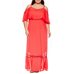 Ashley Nell Tipton for Boutique + Short Sleeve Cold Shoulder Maxi Dress-Plus
