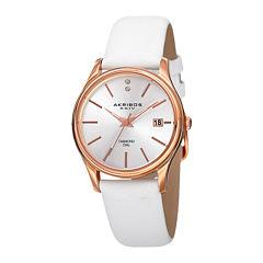 Akribos XXIV Womens Silver-Tone Dial White Leather Strap Watch