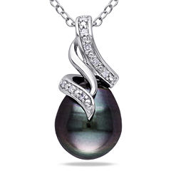 Black Tahitian Pearl & Diamond Accent Sterling Silver Pendant