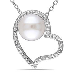 1/10 CT. T.W. Diamond & Cultured Freshwater Pearl Sterling Silver Pendant