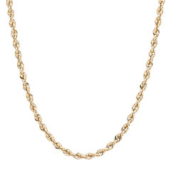 Infinite Gold™ 14K Yellow Gold Glitter Hollow Rope Chain