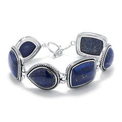 Dyed Blue Lapis Sterling Silver Link Bracelet