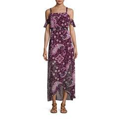 City Triangle Short Sleeve Maxi Dress-Juniors