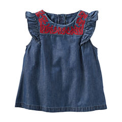 Oshkosh Cap Sleeve Chambray Top-Toddler Girls