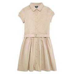 Izod Exclusive Short Sleeve Shirt Dress - Big Kid Girls