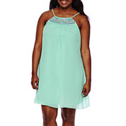 My Michelle® Sleeveless Embroidered A-Line Dress - Juniors Plus