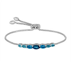 Rhythm and Muse Genuine Blue Topaz Sterling Silver Bolo Bracelet