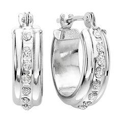 Diamond Fascination™ 14K Gold Flat Hoop Earrings
