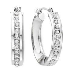 Diamond Fascination™ 14K White Gold Concave Hoop Earrings