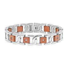 Mens 1/8 CT. T.W. Diamond Two-Tone Stainless Steel Bracelet