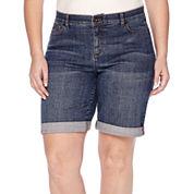 Liz Claiborne® Denim Bermuda Shorts - Plus
