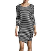 Decree® Long-Sleeve Asymmetrical Wrap Dress- Juniors