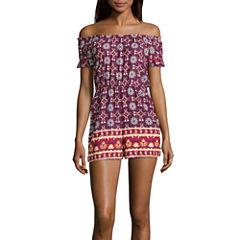My Michelle Short Sleeve Romper-Juniors