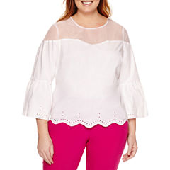 Worthington 3/4 Bell Sleeve  Blouse-Plus