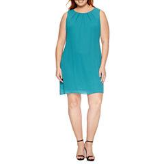 Worthington Sleeveless Pleat Neck Shift Dress-Plus