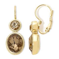 Monet® Gold-Tone Brown Stones Double-Drop Earrings
