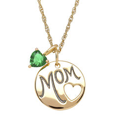 Simulated Emerald Mom Heart Charm Pendant Necklace
