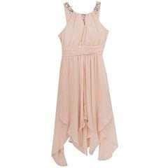 Rare Editions Blush Embellished U-Neck Dress - Girls' 7-16