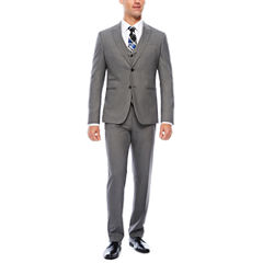 JF J. Ferrar Stretch Gray Sharkskin Suit Separates-Slim Fit