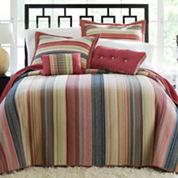 Blue Retro Chic Striped Bedspread & Accessories