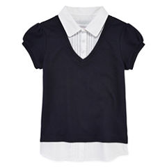 IZOD® Short Sleeve Layered-Look Top - Girls 7-16 and Plus