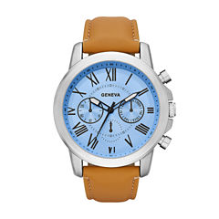 Geneva Mens Brown Strap Watch-Fmdjm572