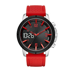Geneva Mens Red Strap Watch-Fmdjm574