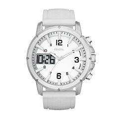 Geneva Mens White Strap Watch-Fmdjm575