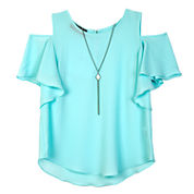 by&by girl Round Neck Short Sleeve Flutter Sleeve Blouse - Big Kid Girls