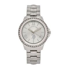 U.S. Polo Assn.® Womens Silver-Tone Crystal Accent Watch