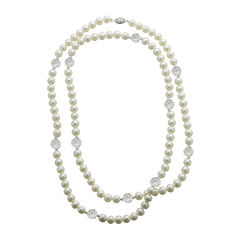 Cultured Freshwater Pearl & Crystal Sterling Silver Strand Necklace