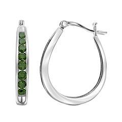 Sterling Silver Genuine Green Diamond Hoop Earrings