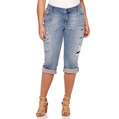 Boutique+ Destructed Skinny Cropped Jeans - Plus