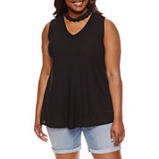 by&by . Sleeveless V Neck Crepe Blouse-Juniors Plus